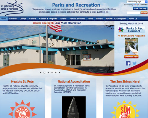 St Pete Parks and Recreation Website